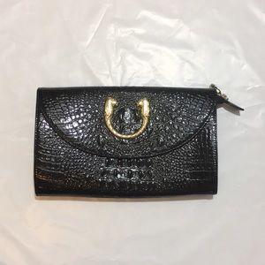 Handbags - Black Faux Croc Leather Shoulder Bag w Gold Accent